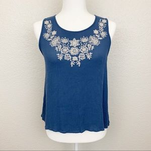 Chloe and Katie Blue Embroidered Tank Top